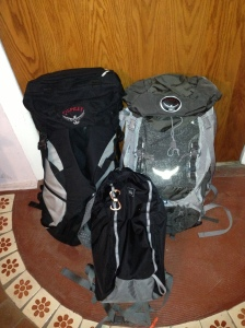 Left: Osprey Eclipse; Right: Osprey Kestrel; Center: REI Flash 18